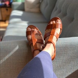 J crew classic leather brown sandals
